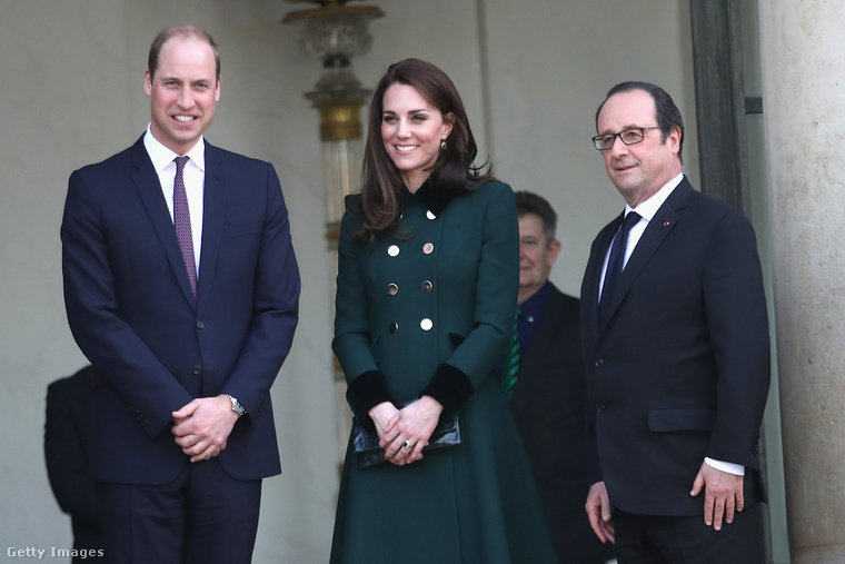 Katalin hercegné és Vilmos herceg Francois Hollande-dal találkozott Párizsban március 17-én