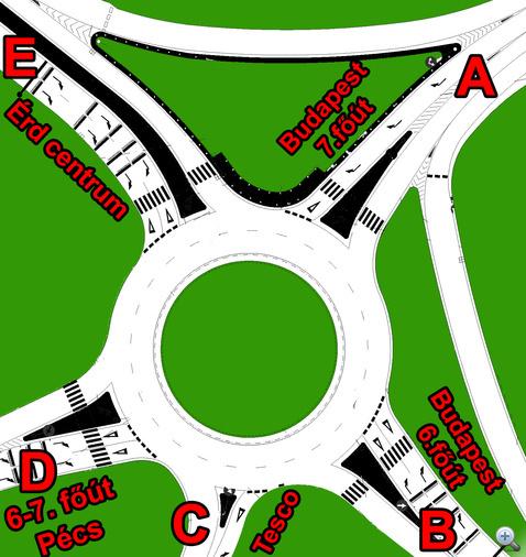 A kétsávos körforgalom vázlatrajza. Két egysávos és három kétsávos behajtó, de mindehol egysávos kihajtó.