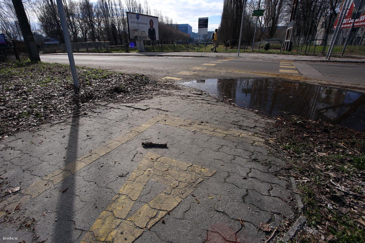 A Cserhalom utcai közúti híd. Innen kezdődik a Rákos-patak menti kerékpárút kitáblázott, felfestett része.