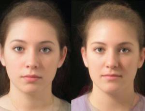 A bal oldali kép kislábú, a jobboldali nagylábú nők arcképeinek kompozitálásával készült.