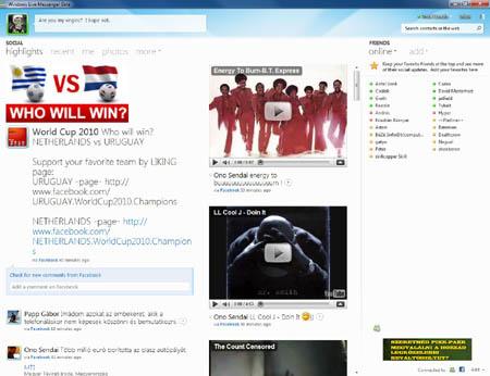 Az alapnézet. A bal hasábban a Facebook-státuszfrissítések, középen az üzenőfalra küldött videók és képek, jobb oldalon az MSN-es ismerősök listája