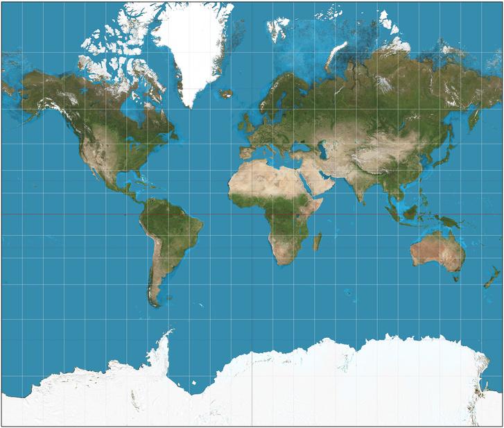 A széles körben használt Mercator-térkép