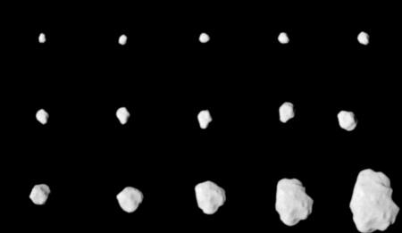 A Lutetia kisbolygóról készült képfelvételek a Rosetta OSIRIS képfelvevő rendszere nagyfelbontású kamerájával a közeledés során (kép: ESA 2010 MPS for OSIRIS Team MPS/UPD/LAM/IAA/RSSD/INTA/UPM/DASP/IDA)