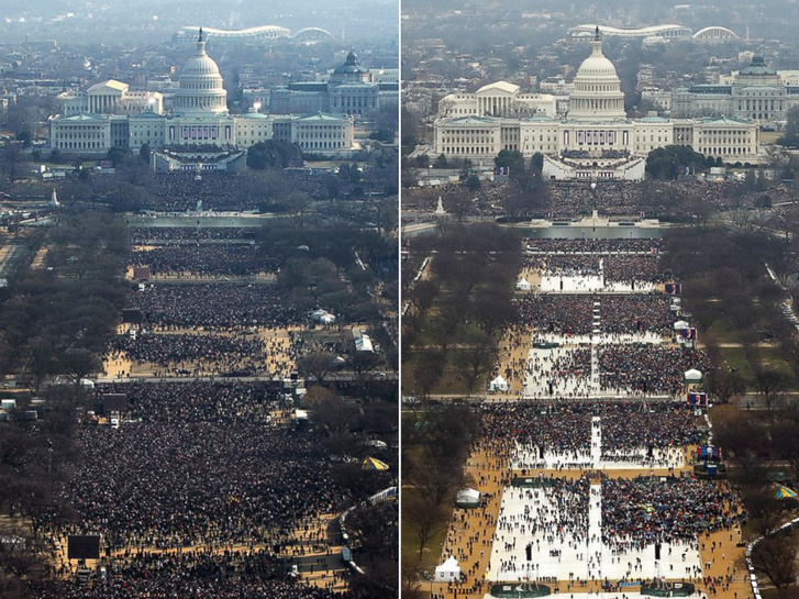 Donald Trump első hazugsága volt elnökként, hogy az ő beiktatásán volt a legnagyobb tömeg, valaha. A képpáron Obama első beiktatása és Trump 2017-es ceremóniája.