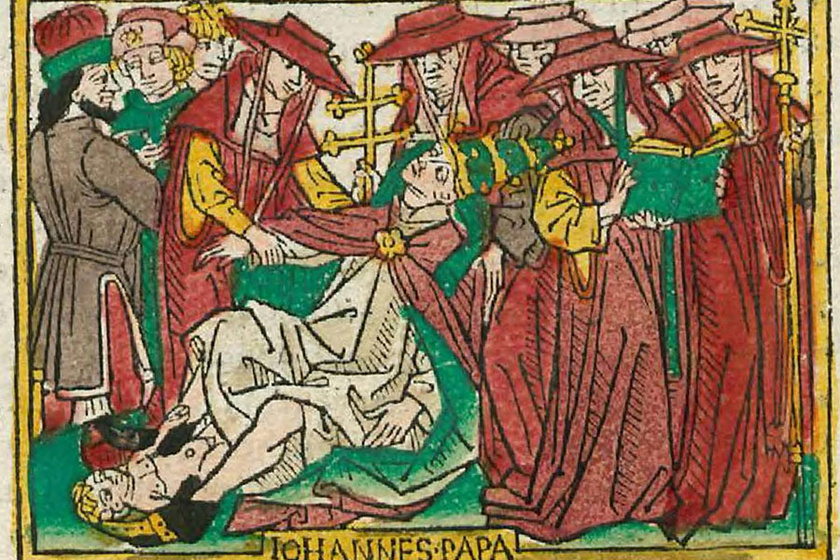 Szülő nőként ábrázolták a Johannesként ismert pápát