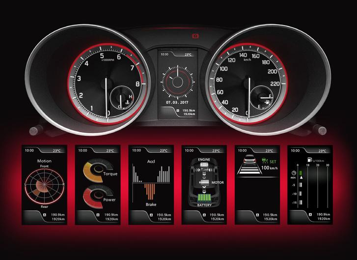 A kijelző képei: gyorsulások, teljesítmény-nyomaték és egyebek, mintha valami nagyon komoly sportkocsi lenne