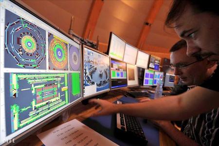 Monitoron követik a Nagy Hadronütköztető (LHC - Large Hadron Collider) indítását a tudósok az Európai Nukleáris Kutatási Szervezet (CERN) nemzetközi részecskefizikai kutatóközpontjában Genfben