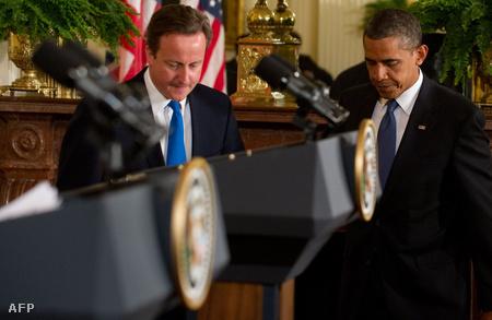 David Cameron és Barack Obama a washingtoni Fehér Házban