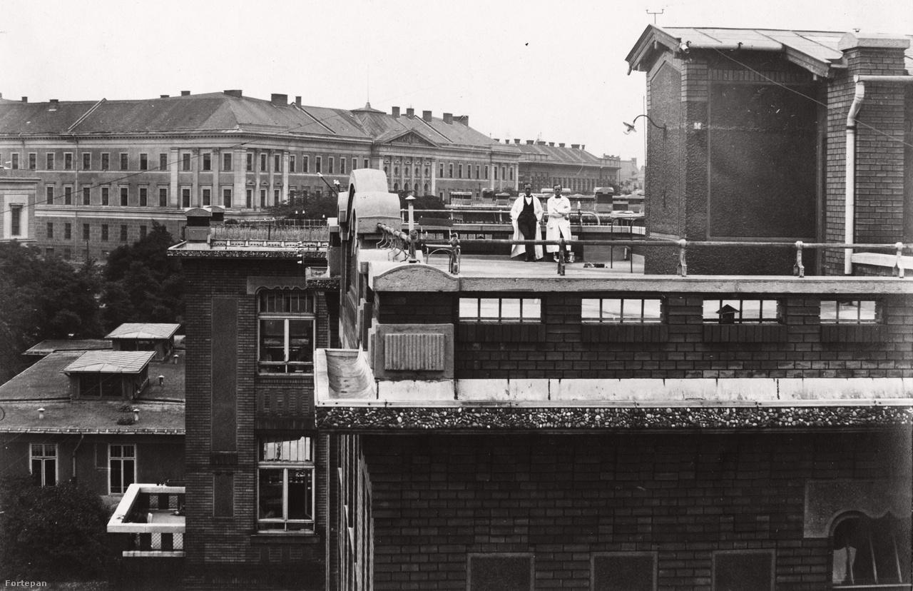 És egy egészen régi tetőterasz az Üllői útról, a Pázmány Péter Tudományegyetemé (ma Semmelweis Egyetem). A háttérben a Ludovika épülete. A fotó 1922-ben készült.