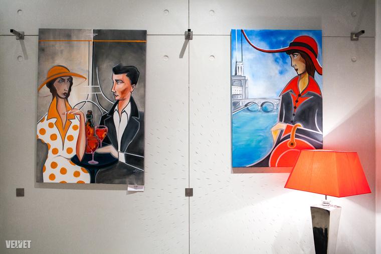 Nem meglepő, hogy témái között szerepelnek párizsi életképek, például a Piros kalapos nő (jobbra) vagy a Párizs délben című képe.Amiről elmesélte, hogy a franciák minden délben boroznak, csaknem kötelező jelleggel