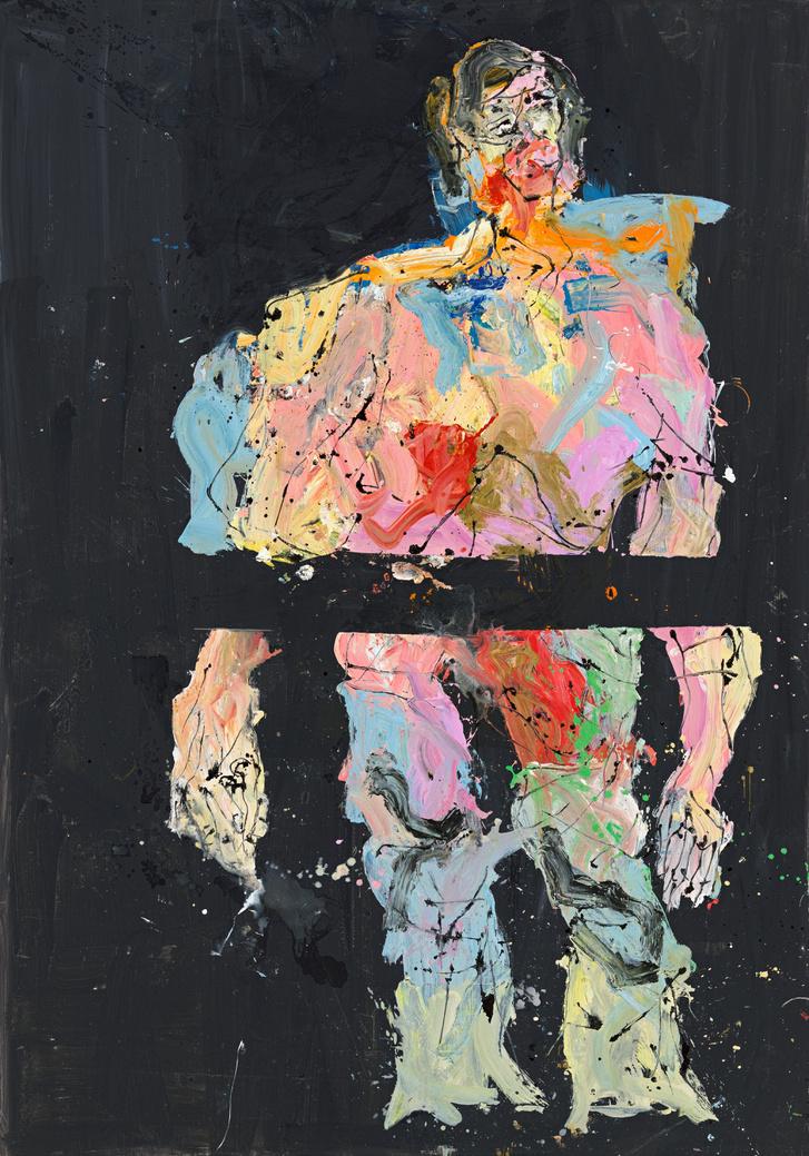 Először is, kérem szépen, 2014                         Olaj, vászon                         300 x 212 cm                         Albertina, Bécs                         Berlin © Georg Baselitz