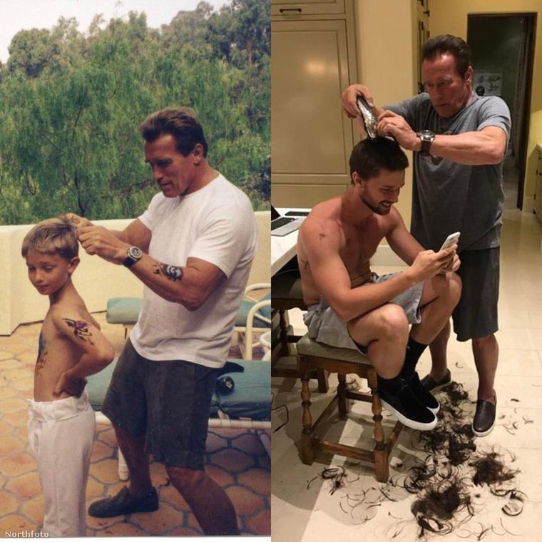 Az ifjabb és az idősebb Schwarzenegger egykor és most.