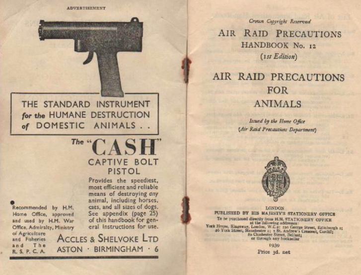 Háziállatok humánus kivégzéséhez ajánlott szögbelövő pisztoly korabeli hirdetése