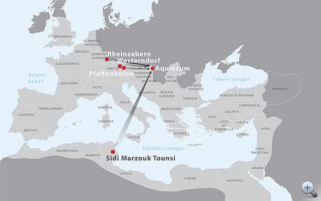 A legfontosabb nyugat-európai és észak-afrikai terra sigillata műhelyek, amelyek termékei eljutottak Aquincumba a Kr. u. 3. században