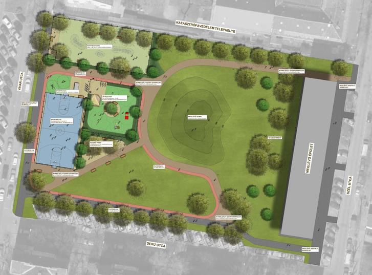 A Derű utcai park átalakításának helyszínrajza