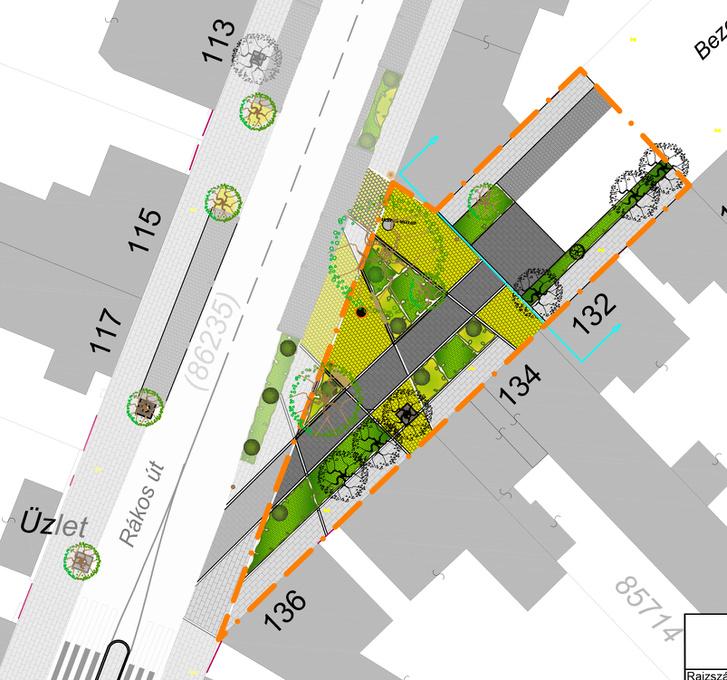 A Rákos út-Bezerédj utca sarkának terve