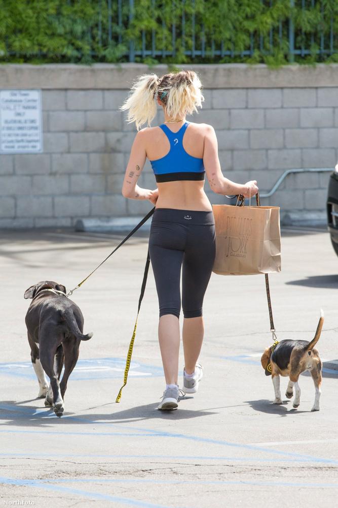 Látta már Cyrust hátulról kutyát sétáltatni? Na, most már igen!