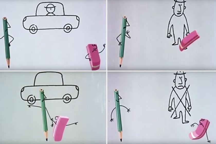 Egy zöld ceruza és egy rózsaszín radír - a legendás páros kibújva egy fadobozból, a rajzlapon kelt életre, ám sosem értettek egyet abban, mit és hogyan is rajzoljanak. Az ötvenes években született díjnyertes rajzfilm figuráit Macskássy Gyula alkotta meg.