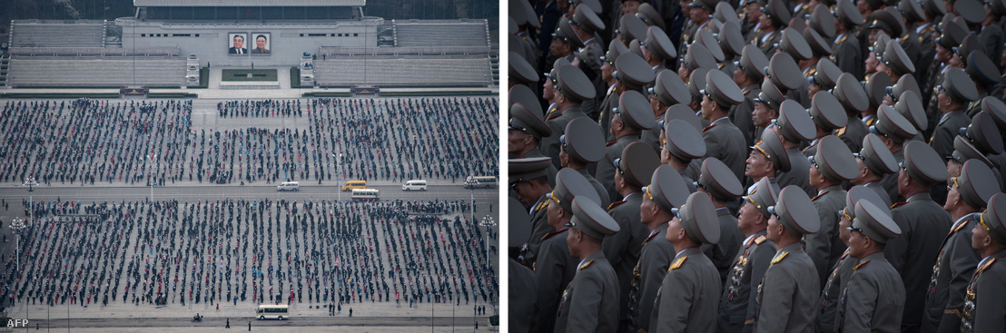 Balra: A Kim Ir Szen születésnapjának tiszteletére szervezett műsor résztvevői gyakorolnak Phenjanban  Jobbra: Észak-koreai tisztek egy katonai parádén