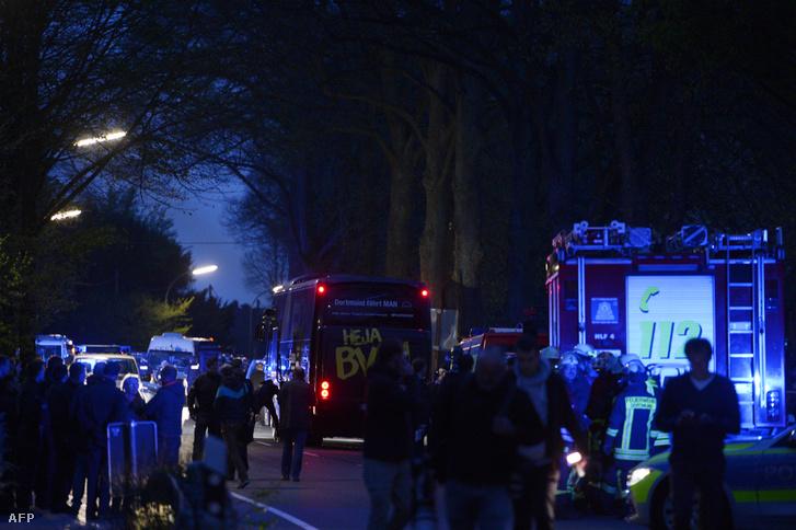 A robbantások helyszíne Dortmundban, a csapat szállodájának közelében