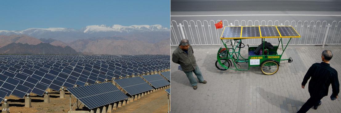 Naperőmű Kína északnyugati részén, Hszincsian tartományban (balra) és napelemes tircikli egy pekingi kiállításon