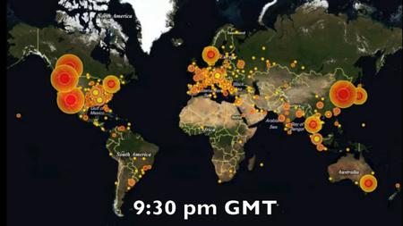 A Waledac vírusával fertőzött gépek eloszlása (forrás: Microsoft)