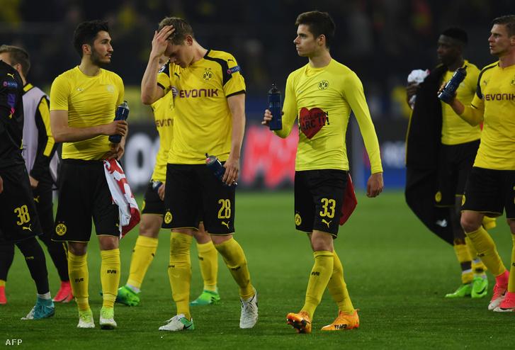 A Dortmund játékosai a tegnapi mérkőzésen