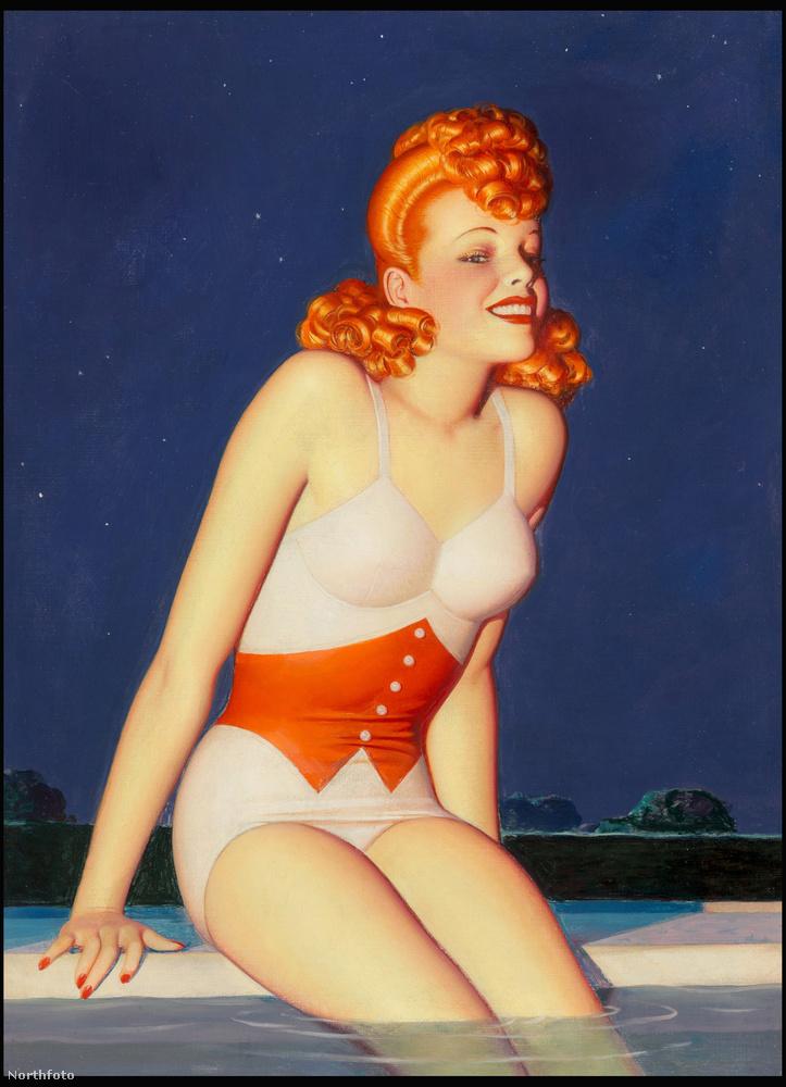 Ezen a poszteren egy vörös bikinis szépség mosolyog csábítóan