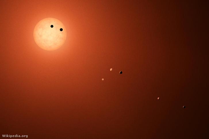 A TRAPPIST-1 és a hét Földszerű exobolygója (fantáziarajz)