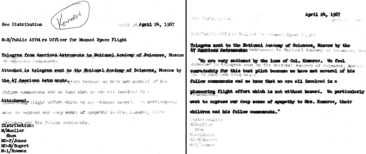 1967. április 24: Az Apollo-1 három tagját még gyászoló amerikai űrhajósok Moszkvába küldött részvéttávirata.