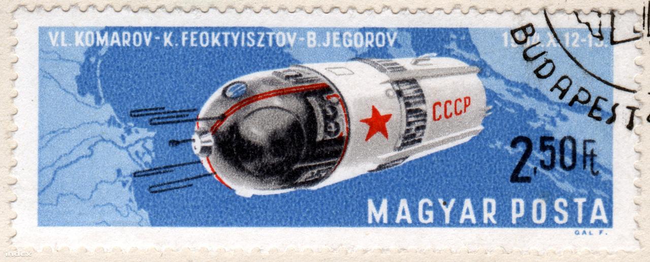 A Voszhod-1 űrrepülése magyar bélyegen.