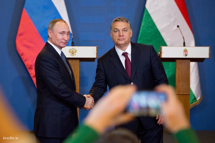 Vlagyimir Putyin és Orbán Viktor Budapesten 2017 februárjában