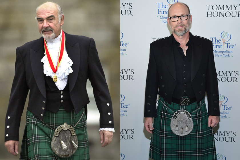 Sean és Jason Connery skót szoknyában