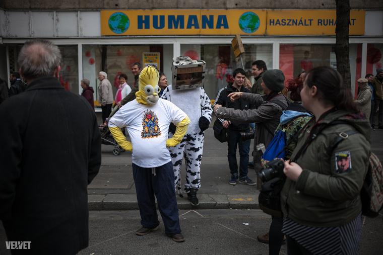 Még Homer Simpson is tüntetett a kormány mellett, egy monitorfejű tehénnel együtt.