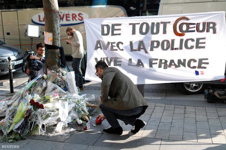 A lelőtt párizsi rendőrre emlékeztek