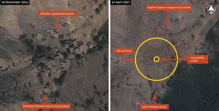 Az amerikai hadsereg által közzétett műholdas képek a területről (Nagyobb mérethez kattintson a képre!)