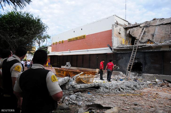 A Prosegur nevű biztonsági cég épülete, amit április 24-én egy tucat fegyveres támadott meg Paraguayban.