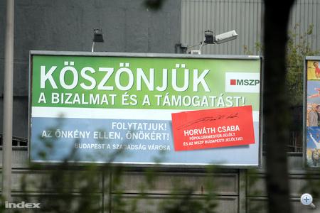 Horváth Csaba főpolgármester-jelölt egy másik óriásplakátja