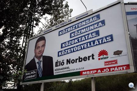 Élő Norbert, X. kerületi (Kőbánya) polgármesterjelölt óriásplakátja