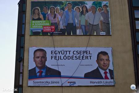 Szenteczky János, XXI. kerületi (Csepel) polgármesterjelölt és Horváth László képviselőjelölt közös óriásplakátja