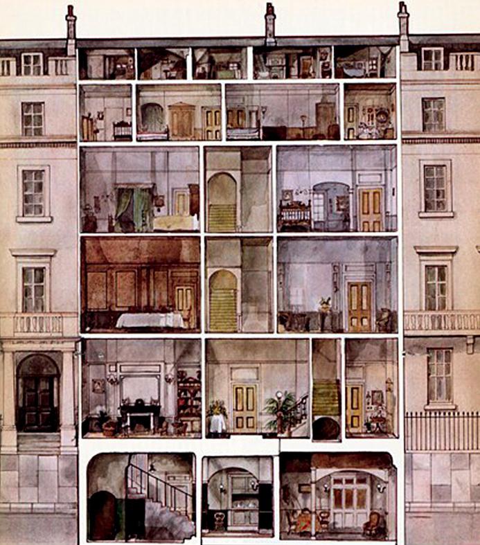 A szolgálók lakrészének vázlatos rajza. Alul a konyha és az étkező, középen a nagyobb, legfelül pedig a legapróbb szobák helyezkedtek el.