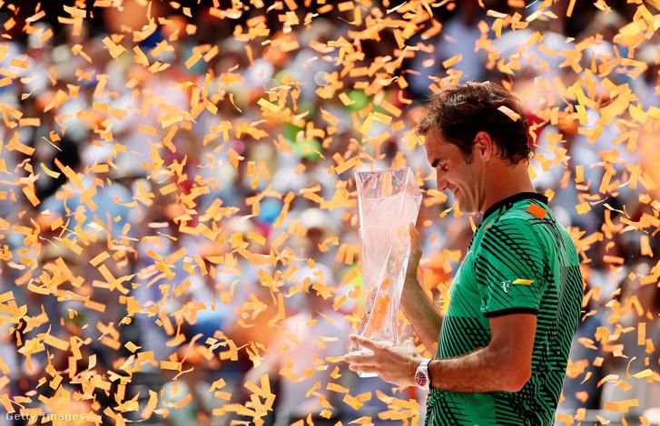 Federer Miamiban, győzelme után.