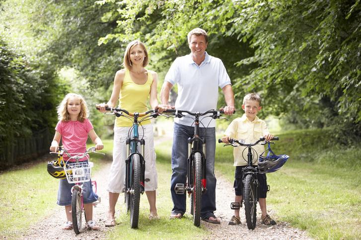 A család egyetlen, kizárólagos definíciója, ahogy egy stocfotón szerepel: apa, anya, gyerekek. (A képet persze továbbelemezhetnénk, de nem tesszük.)