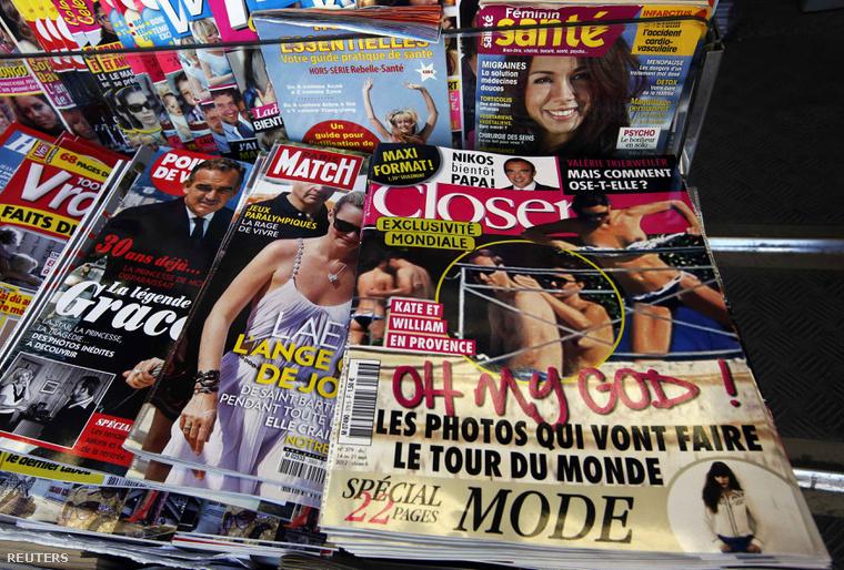 Francia bulvárlapok címlapjai egy újságosnál 2012-ben.
