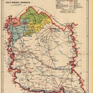 Bács-Bodrog vármegye, színessel a megye Trianon után Magyarországon maradt része. Forrás: Hungaricana.