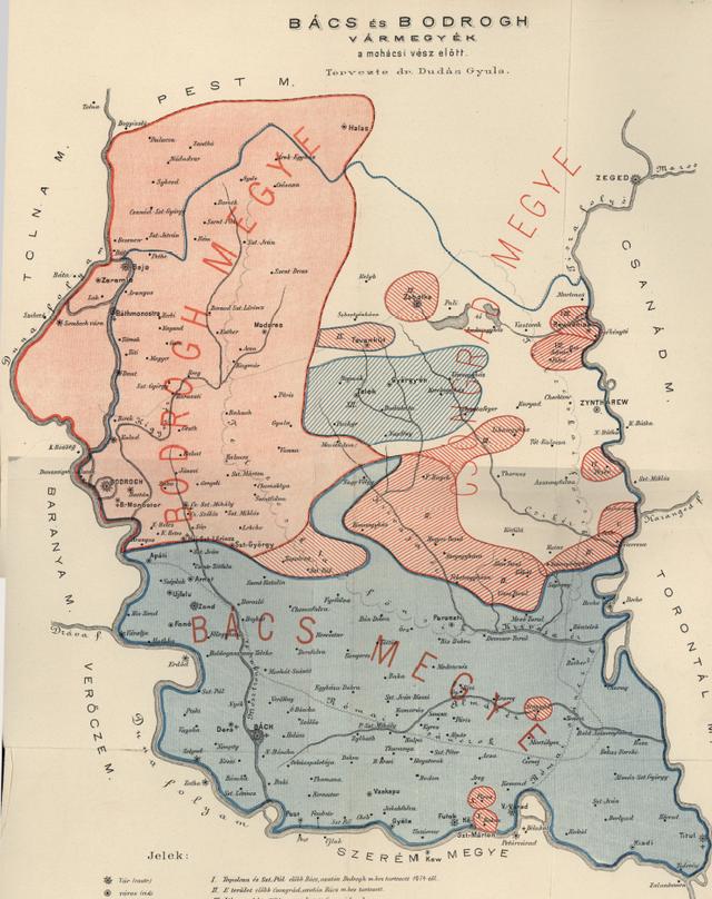 Bács és Bodrog a mohácsi vész előtt Dudás Gyula térképe szerint. Megjelent: Bács-Bodrogh megye egyetemes monográfiája, 1896. Forrás: Arcanum. https://adtplus.arcanum.hu/hu/view/CsaladHely_MonografiaMegye_Bacsbodrogvmmonografia_1/?query=B%C3%A1cs-Bodrog&pg=0&layout=s