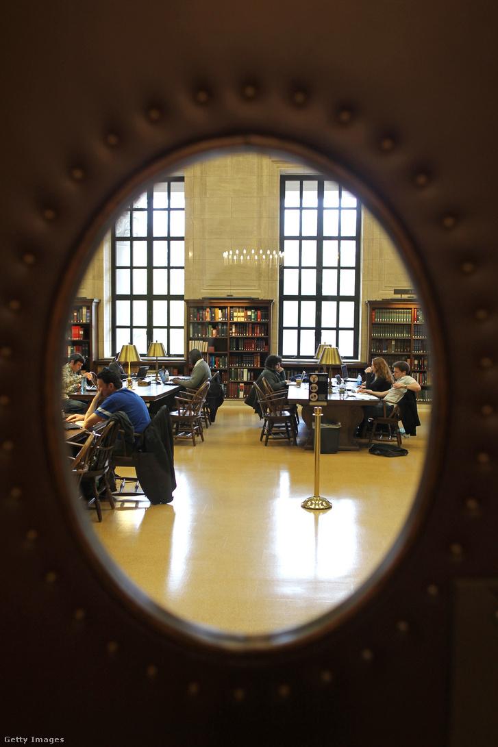 Olvasószoba a Harvard Egyetem Harry Elkins Widener Könvtárában.