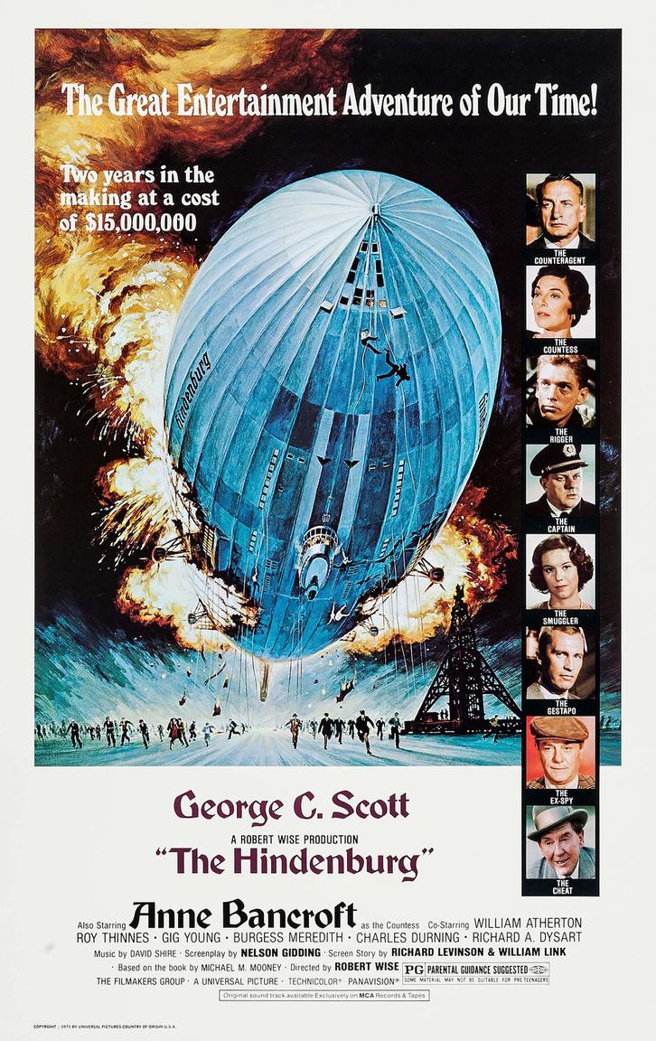 A Hindenburg tragédiáját feldolgozó 1975-ös hollywoodi film plakátja.