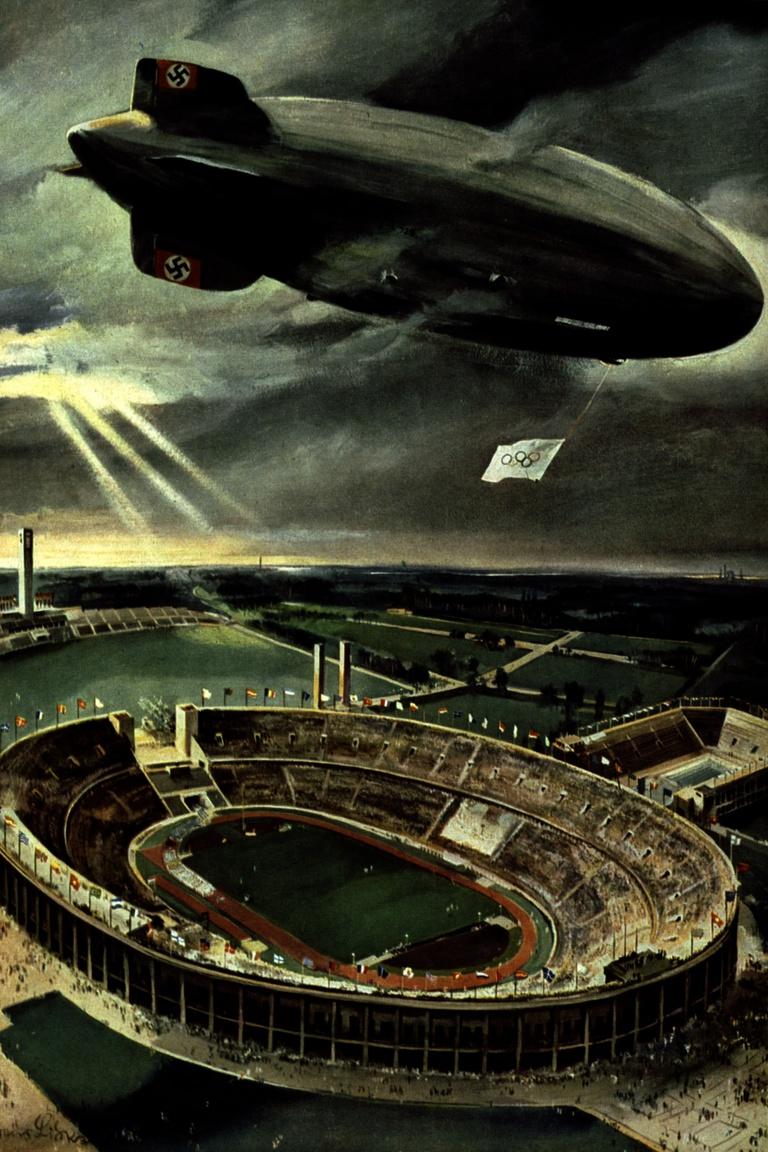 1936: olimpiai propagandafestmény a Hindenburggal és a berlini olimpiai stadionnal.
