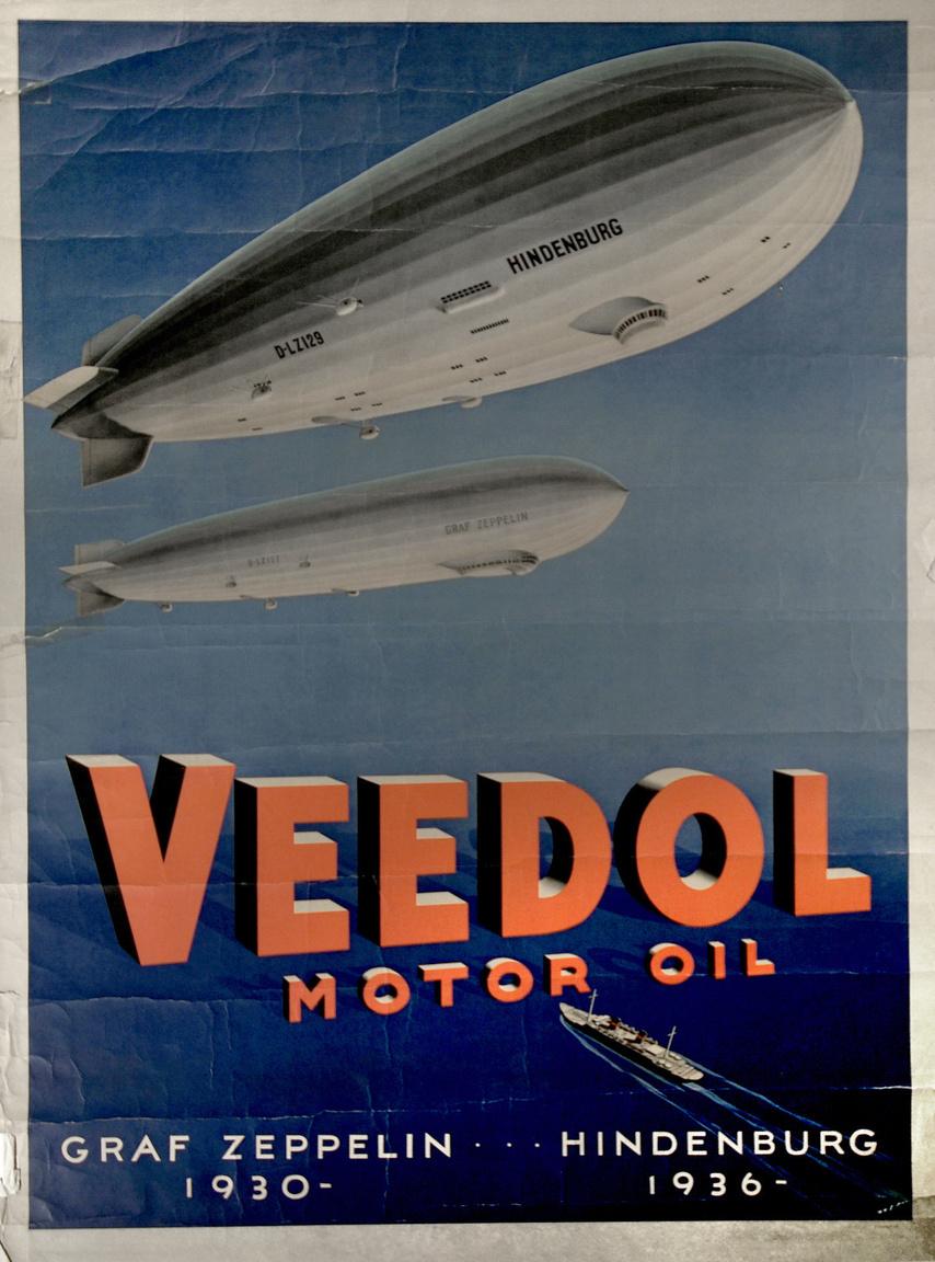 A Veedol motorolajok reklámplakátja, rajta a két leghíresebb német léghajóval.